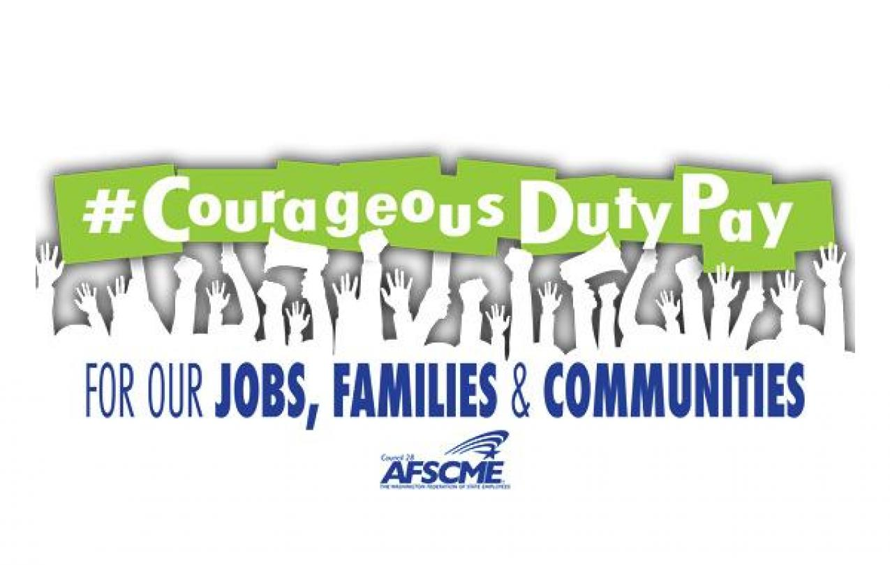 """A logo for the Courageous Duty Pay campaign, showing outlines of hands reaching up and text that says """"Courageous Duty Pay for Jobs, Families and Communities"""""""