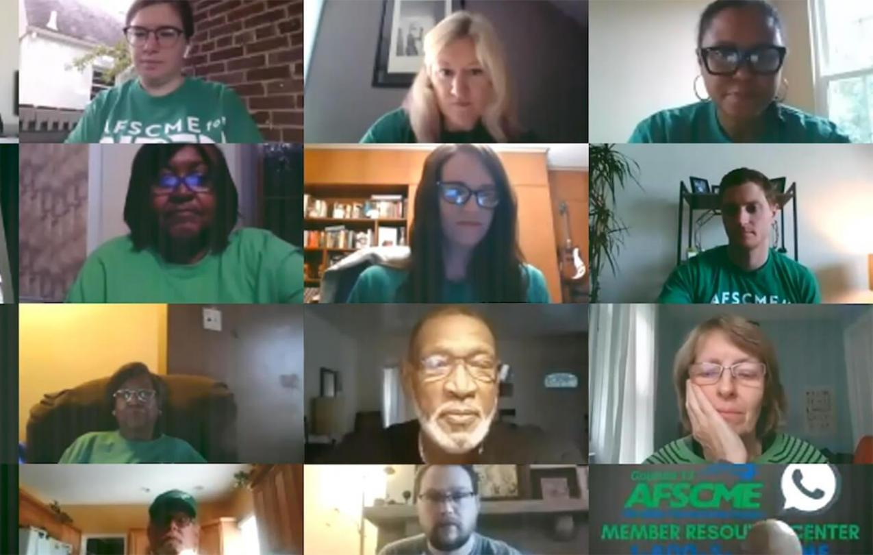 Volunteers wearing AFSCME green