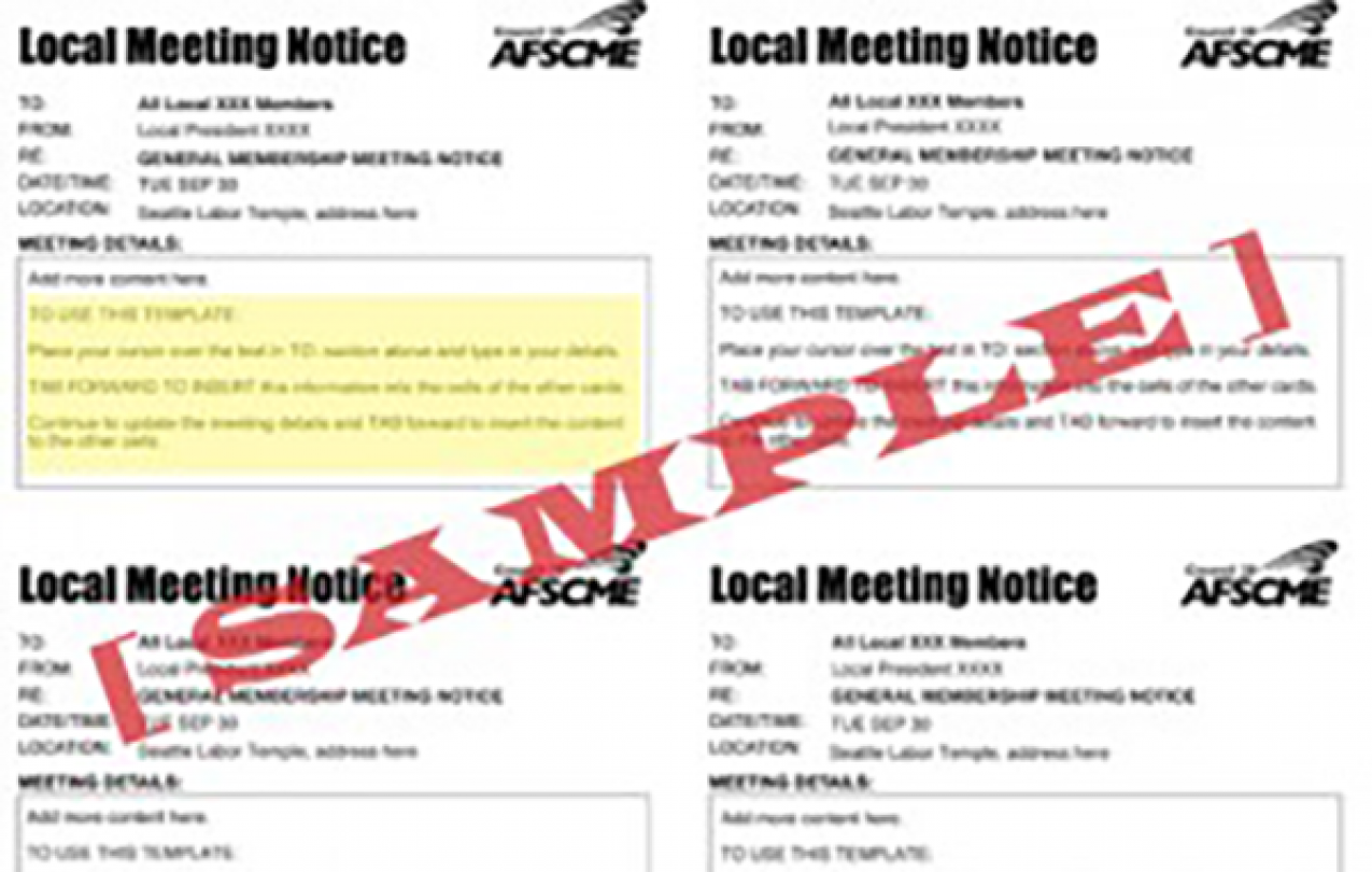 Local Meeting Notice Template