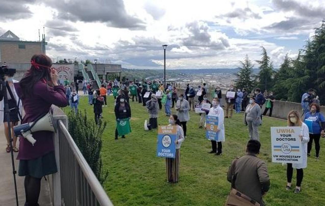 UW Staff Rally at May 14 Unity Break