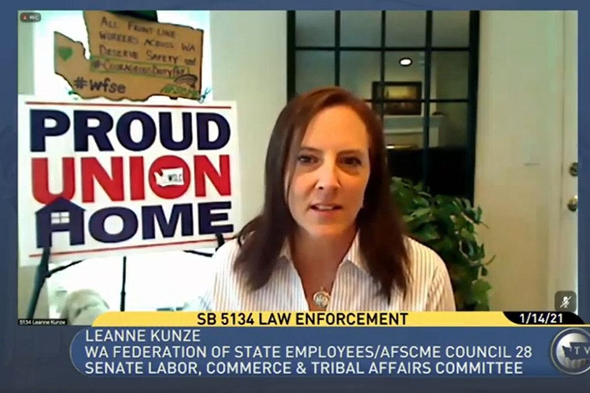 WFSE Executive Director Leanne Kunze testifies against SB 5134.