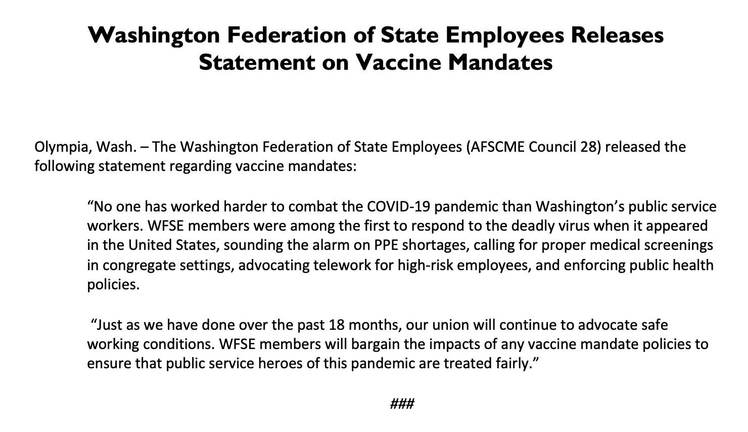 Graphic: Statement on Vaccine Mandate
