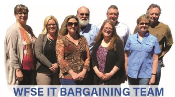 "Group of people with background removed. ""WFSE IT Bargaining Team"" is printed."