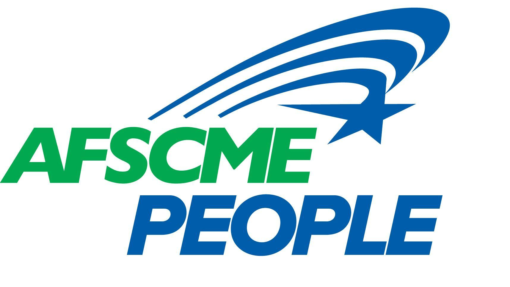 A logo featuring bold script that says ASFCME PEOPLE in blue and green, with a blue AFSCME star and swoosh above the lettering.