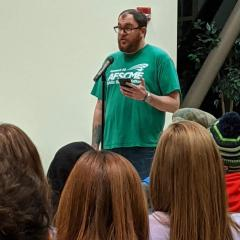 Johnny Dwyer,  an IT specialist at Seattle Central College and vice president of Local 304, speaking up against financial mismanagement at Shoreline Community College in January.